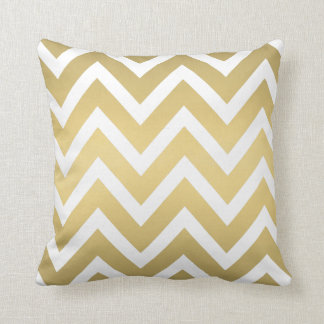 Gold and White Chevron Striped Pillow