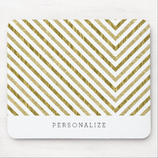 Gold and White Chic Chevron Personalized Mouse Pad