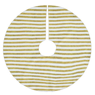 Gold and White Chic Stripes Brushed Polyester Tree Skirt