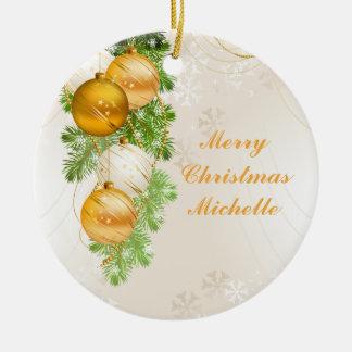 Gold and White Christmas Balls Ceramic Ornament