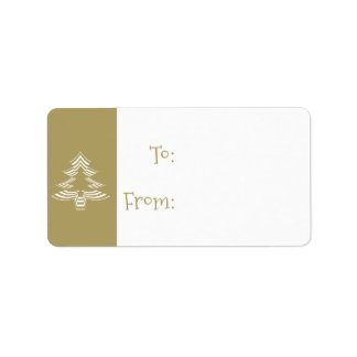 Gold and White Christmas Tree Pattern Gift Tags