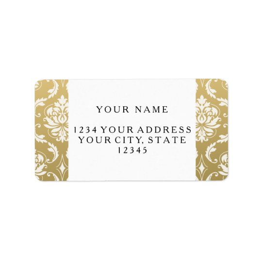 Gold and White Classic Damask Label