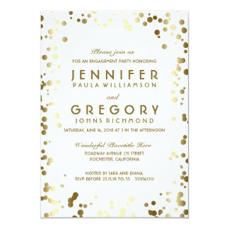 Gold and White Confetti Vintage Engagement Party Card