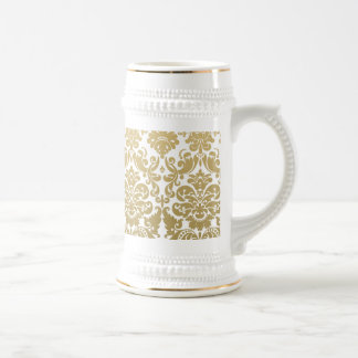 Gold and White Elegant Damask Pattern Beer Stein