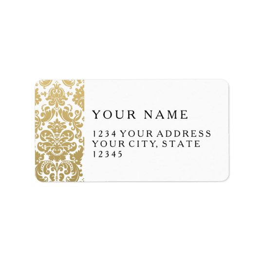 Gold and White Elegant Damask Pattern Label