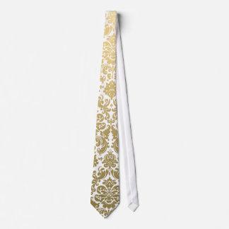 Gold and White Elegant Damask Pattern Tie