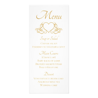 Gold And White Elegant Menu Heart Wedding Party
