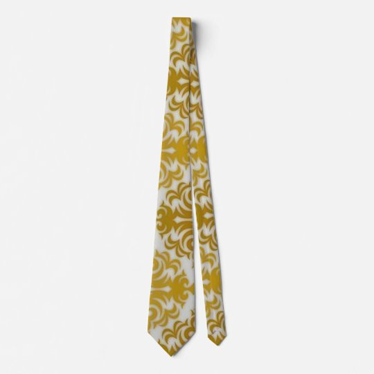 Gold and White Elegant Pattern Necktie