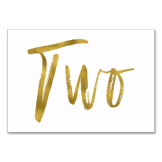 Gold and White Elegant Table Number Two