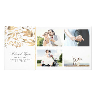 Gold and White Fall Leaves Wedding Thank You Card