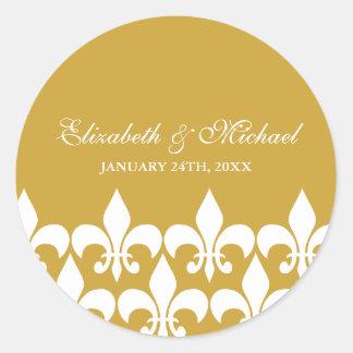 Gold and White Fleur de Lis Wedding Favor Label Round Sticker