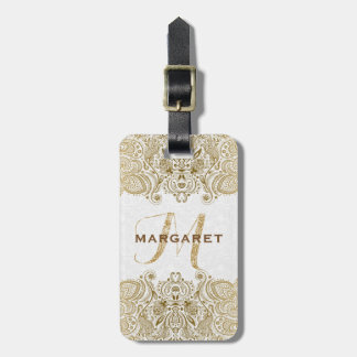 Gold And White Floral Paisley Lace Luggage Tag