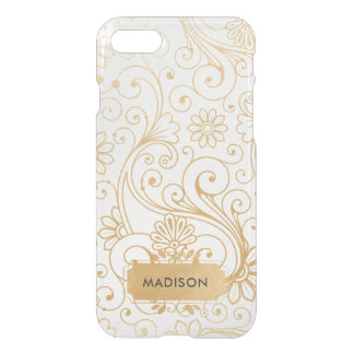 Gold and White floral Swirl pattern with name iPhone 8/7 Case