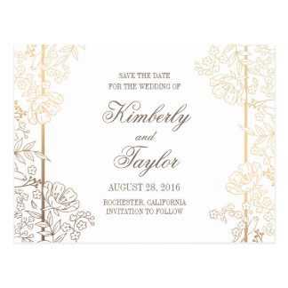 Gold and White Floral Vintage Decor Save the Date Postcard