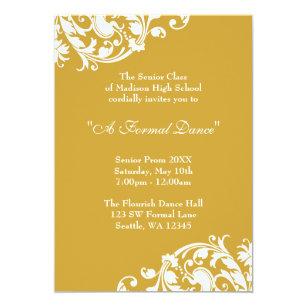 School formal invitations announcements zazzle au gold and white flourish prom formal invitation stopboris Image collections
