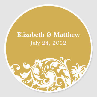 Gold and White Flourish Swirl Wedding Favor Label Round Sticker