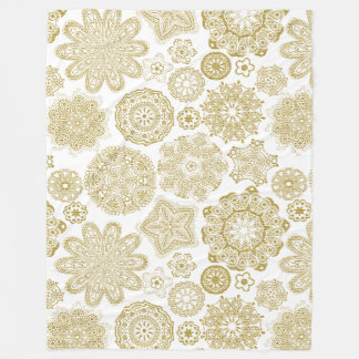 Gold And White Geometric Irises Pattern Fleece Blanket
