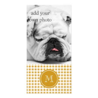Gold and White Gingham, Your Monogram Custom Photo Card