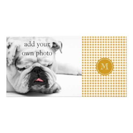 Gold and White Gingham, Your Monogram Photo Greeting Card