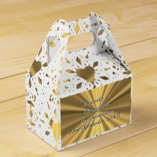 Gold and  white lace heart wedding favour box