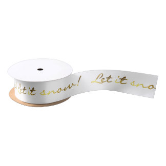 Gold and White Let It Snow Gift Ribbon Satin Ribbon