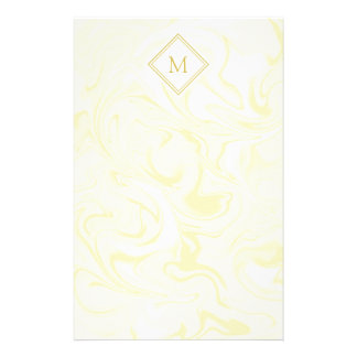Gold and White Marble look with Diamond Monogram Personalized Stationery