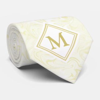 Gold and White Marble look with Diamond Monogram Tie