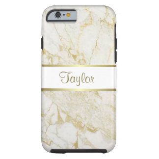 Gold and White Marble Tough iPhone 6 Case