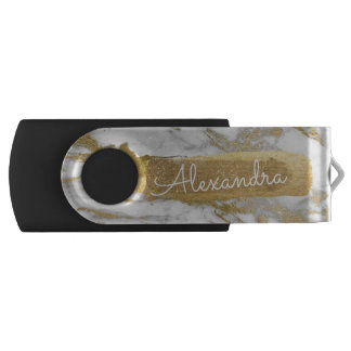 Gold and White Marble with Gold Foil and Glitter USB Flash Drive