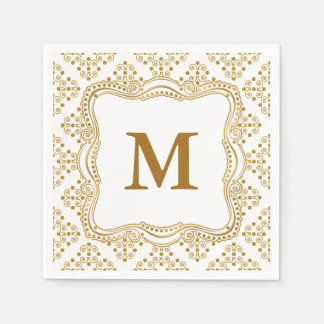 Gold and White Ornate Elegance Wedding Collection Disposable Napkins
