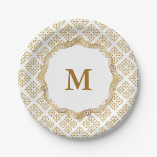 Gold and White Ornate Elegance Wedding Collection Paper Plate