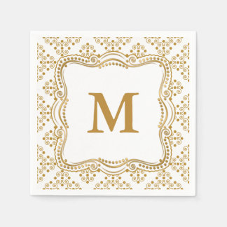 Gold and White Ornate Elegance Wedding Collection Paper Serviettes