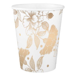Gold and White Peonies Pattern Elegant Wedding Paper Cup