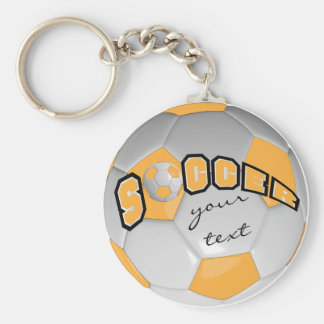 Gold and White Personalize Soccer Ball Basic Round Button Key Ring