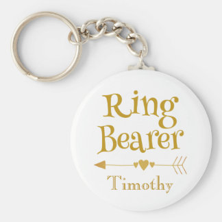 Gold and White Ring Bearer Key Ring