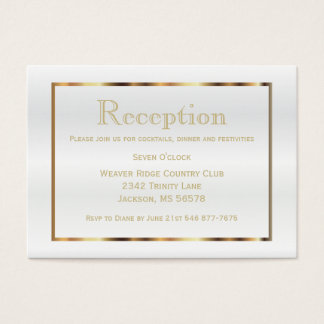 Gold and White Satin - Reception Business Card
