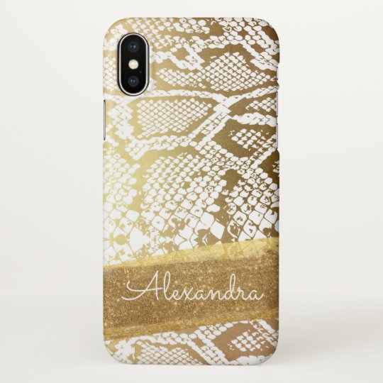 Gold and White Snake Print with Gold Glitter iPhone X Case