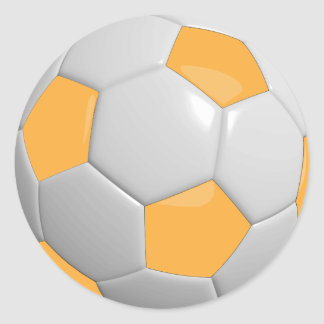 Gold and White Soccer Ball Round Sticker
