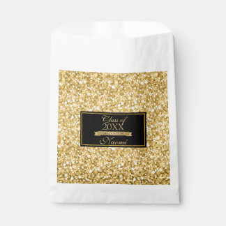 Gold And White Sparkling Glitter- Graduations Favour Bag