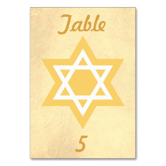 Gold and White Star of David Card