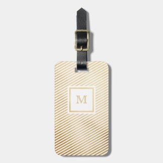 Gold and White Striped Luggage Tag