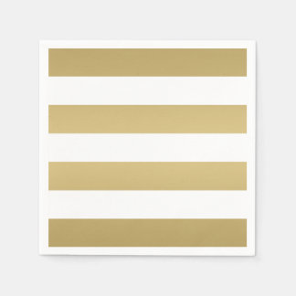 Gold and White Striped Party Napkins Disposable Serviette