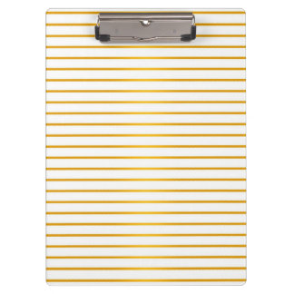 Gold and White Striped Pattern Clipboard