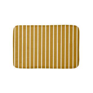 Gold and White Stripes Bath Mat
