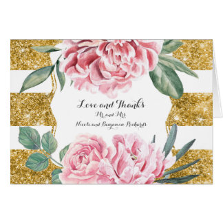 Gold and White Stripes Floral Wedding Thank You Card