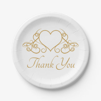 Gold and White Thank You Love Heart Wedding Party Paper Plate