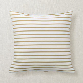 Gold and White Thin Stripe Pillow