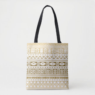 Gold And White Tribal Tote Bag