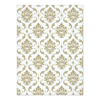 Gold and White Vintage Damask Pattern 5.5x7.5 Paper Invitation Card