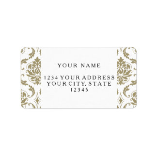 Gold and White Vintage Damask Pattern Address Label